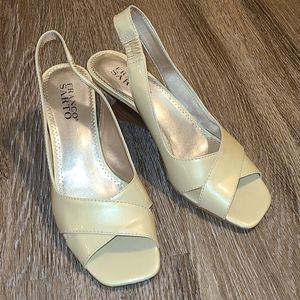 Franco Sarto Cream Peep Toe Slingback Heels